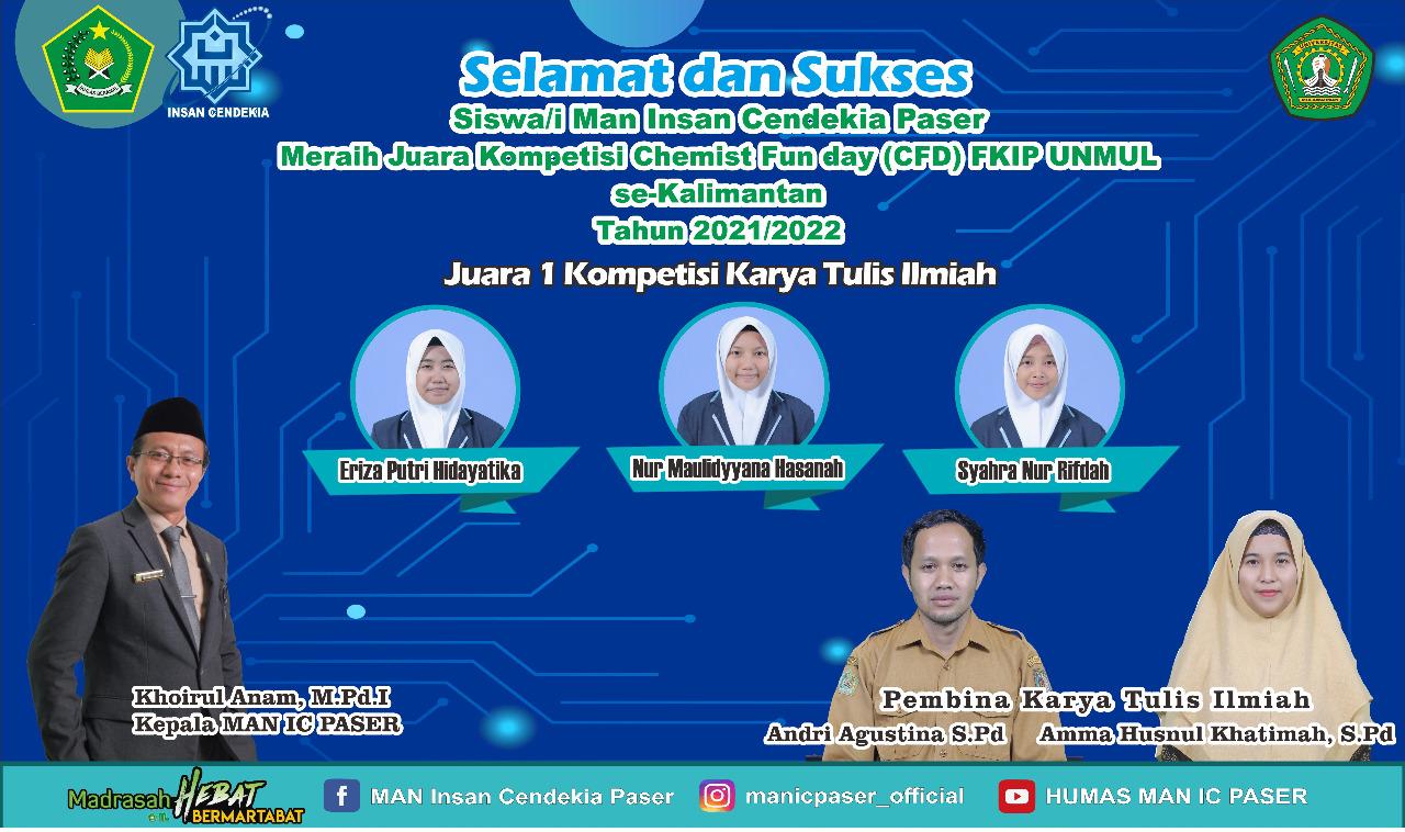 Siswa MAN IC Paser Juara 1 Karya Tulis Ilmiah se Kalimantan