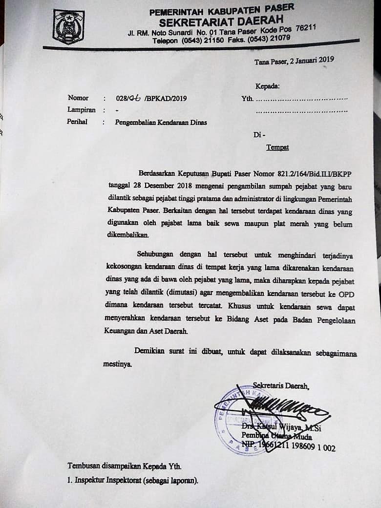 BPKAD Keluarkan Edaran Pejabat Eselon II dan Administrator yang di Mutasi Mengembalikan Mobil Sewa maupun Plat Merah