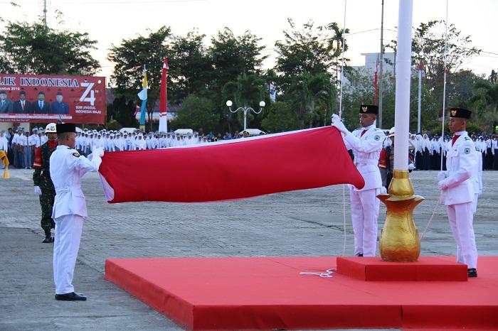 Wabup Irup Penurunan Bendera Merah Putih