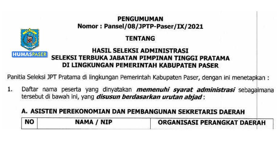 Pengumuman Hasil Seleksi Administrasi, Seleksi Terbuka Jabatan Pimpinan Tinggi Pratama di Lingkungan Pemerintah Kabupaten Paser Tahun 2021