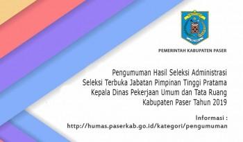 Pengumuman Hasil Seleksi Administrasi JPTP DPUTR