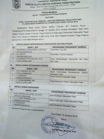 3 Besar Hasil Seleksi Terbuka JPTP Pemkab Paser di Umumkan