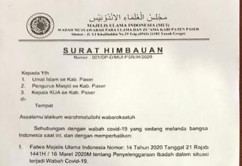 MUI Paser Keluarkan Surat Himbau Cegah Covid-19, Salat Jamaah di Lakukan di Rumah Masing-Masing