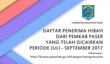 DAFTAR PENERIMA HIBAH YANG TELAH DICAIRKAN PERIODE JULI - SEPTEMBER 2017