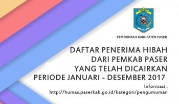 DAFTAR PENERIMA HIBAH YANG TELAH DICAIRKAN PERIODE JANUARI - DESEMBER 2017