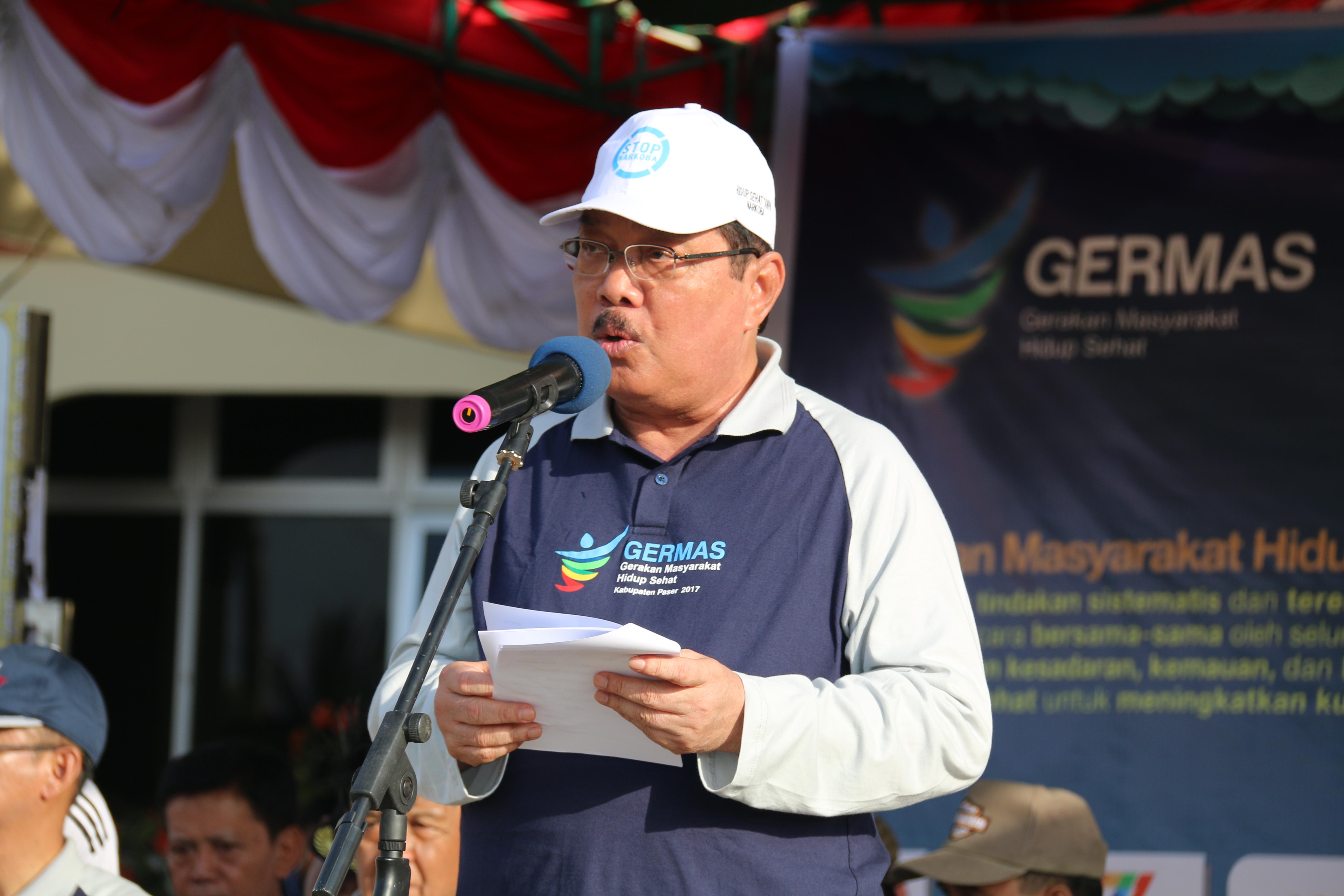 Bupati Paser saat memberikan sambutan pada acara Pencanangan Germas Hidup Sehat Kab. Paser 2017