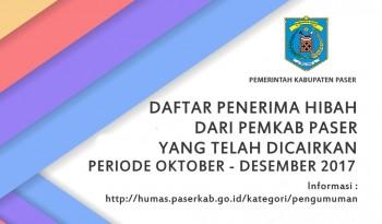 DAFTAR PENERIMA HIBAH YANG TELAH DICAIRKAN PERIODE OKTOBER - DESEMBER 2017