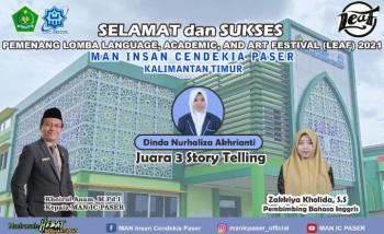 Siswa MAN IC Paser Juara 3 Story Telling LEAF  Festival 2021