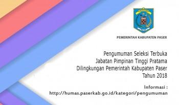 Pengisian Jabatan Pimpinan Tinggi (JPT) Pratama di Lingkungan Pemerintah Kabupaten Paser