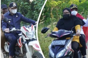 Bupati Fahmi & Wabup Masitah Gunakan  Motor  Tinjau Jalan Tanjung Aru- Ipi